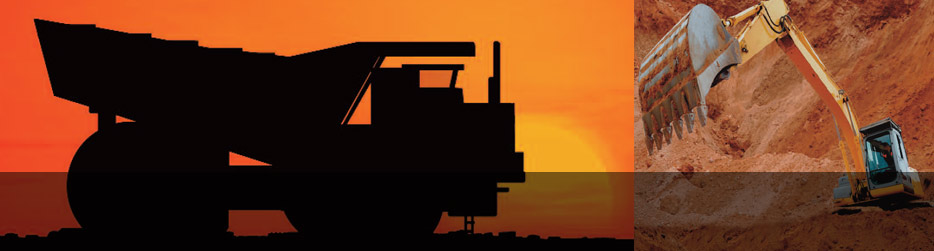 panoramic image of a sunset behind a gigantic eath moving dump truck next to a smaller picture of a yellow front loading excavator digging in red earth to represent Talascend presence in the Mining and Metals industry