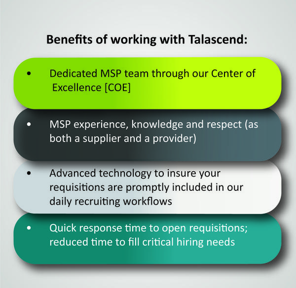 Benefits of working with Talascend: Dedicated MSP team through our center of excellence. MSP experience,